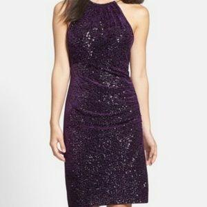 Eliza J Sequin & Velvet Sheath Dress Size 10